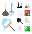 cleaning and maid cartoonblackflatmonochrome vector image vector image