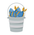 colorful silhouette bucket full fish vector image