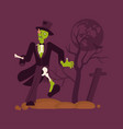 concept zombie man on cemetery background vector image vector image