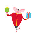 cute pig in chinese clothes with gifts isolated on vector image vector image