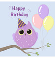 cute purple owl happy birthday card vector image vector image