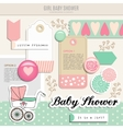 Cute set of baby shower scrapbooking elements vector image vector image