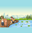 family at the park vector image