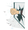 fist breaks the window isolated vector image