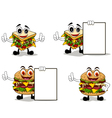 four sandwich cartoon with different poses vector image vector image