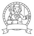 Funny university lecturer Emblem vector image vector image