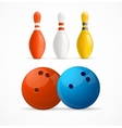 Group of Bowling Pins and Balls vector image vector image
