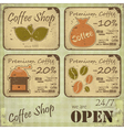 Grunge coffee labels vector image vector image