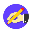hand holding pen vector image vector image