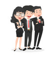 happy business characters friendly concept set vector image