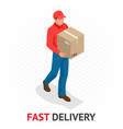 isomeric fast delivery concept delivery man in vector image