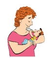 Joyful woman feeds the baby milk from a bottle vector image vector image