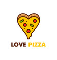 love pizza logo design modern line vector image