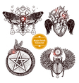 Magic Occult Tattoo Set vector image vector image
