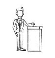 man in a suit putting paper in the ballot box vector image vector image