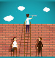 man standing on a ladder brick wall vector image vector image