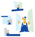 man the builder cartoon vector image vector image
