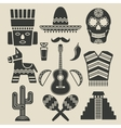mexico travel icons set vector image
