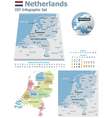 Netherlands maps with markers vector image