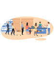 people in grocery store line at cash desk vector image