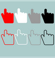 pointing hand red black grey white icon vector image