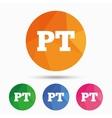 Portuguese language sign icon PT translation vector image vector image