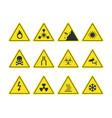 road signs set yellow warning symbols danger vector image
