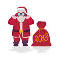 santa claus holding binoculars in his hands with vector image vector image