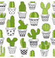 seamless pattern with green cactus in pots vector image vector image