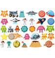 set isolated objects theme - space vector image