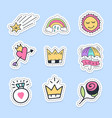 set love stickers pins patches and handwritten vector image vector image