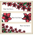 Set of horizontal banners with doodling flowers vector image vector image