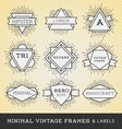 set vintage line frames and labels vector image