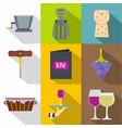 wine icons set flat style vector image