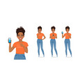 woman with phone vector image vector image