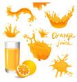 orange juice splashes vector image