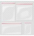 Empty Transparent Plastic Pocket Bags Blank vector image