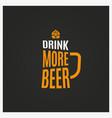 beer mug logo vintage glass beer lettering vector image vector image
