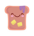 bread with butter and jam cartoon food cute line vector image