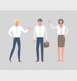 business people in white shirts cartoon managers vector image