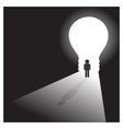 Businessman in front of a bright light bulb door vector image vector image