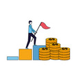 businessman with flag climbing chart bar vector image