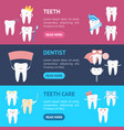 cartoon tooth characters banner horizontal set vector image vector image