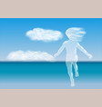 child running to the sea vector image vector image