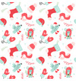 christmas seamless pattern with red mittens socks vector image
