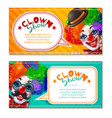 circus clown show 2 horizontal banners vector image vector image