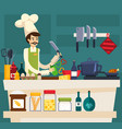 colored cafe worker composition vector image vector image