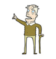 comic cartoon old man with walking stick vector image
