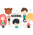 cute school kids with backpacks globe and book vector image