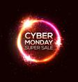 cyber monday super sale neon discount card design vector image vector image